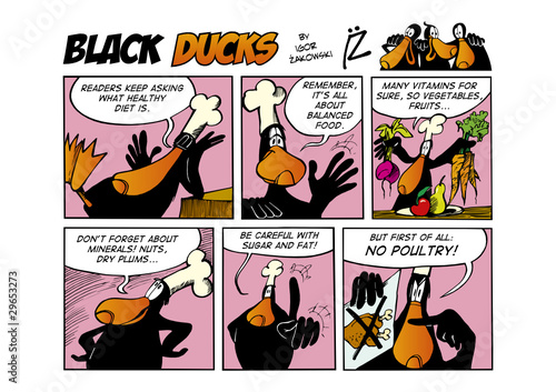 Spoed Fotobehang Comics Black Ducks Comic Strip episode 66