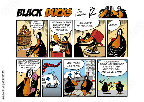 Spoed Fotobehang Comics Black Ducks Comic Strip episode 65