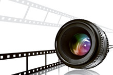 Lens & Film Strip On White