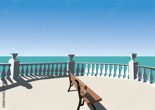 Fototapeta area for relaxing with a view to the sea obraz na płótnie