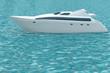 White yacht on turquoise sea