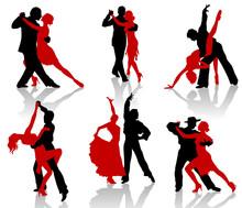 Silhouettes Of The Pairs Dancing Ballroom Dances. Tango.
