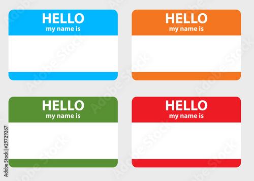 Fotografía Hello my name cards set