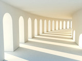 Fototapeta Do przedpokoju - Colonnade in warm tones with deep shadows. Illustartion