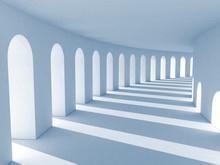 Blue Colonnade With Deep Shado...
