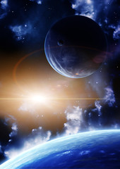 Fototapeta kosmiczny błysk między planetami