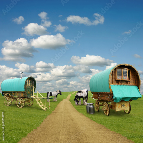 Photo  Old Gypsy Caravans, Trailers, Wagons with Horses