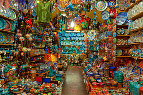 Photo  Grand bazaar shops in Istanbul.