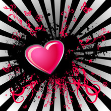 Black Stain And Pink Heart