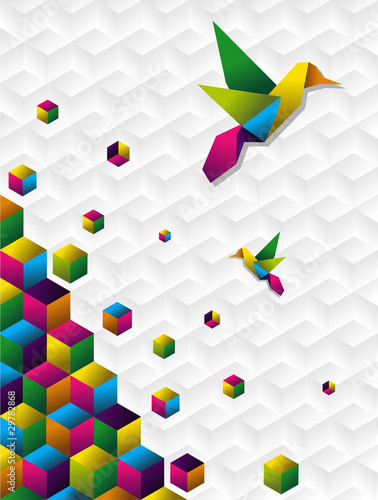 Poster Geometric animals Colorful cubes in motion