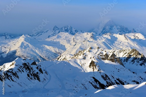Photographie  Mont blanc, from the ski area Les Arcs