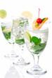 Three Classic Citrus Mojito cocktails