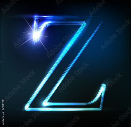 Glowing neon letter on dark background. Letter Canvas Print