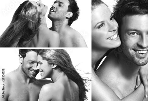 Nowoczesny obraz na płótnie three views of a smiling couple in love
