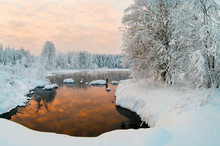 Unfrozen Lake In The Winter Fo...