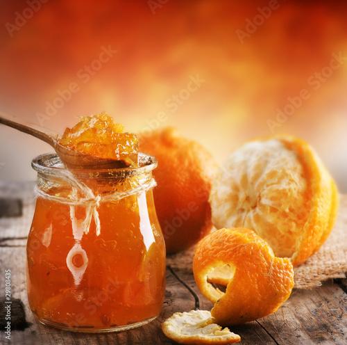 Fototapeta premium Domowy pomarańczowy dżem