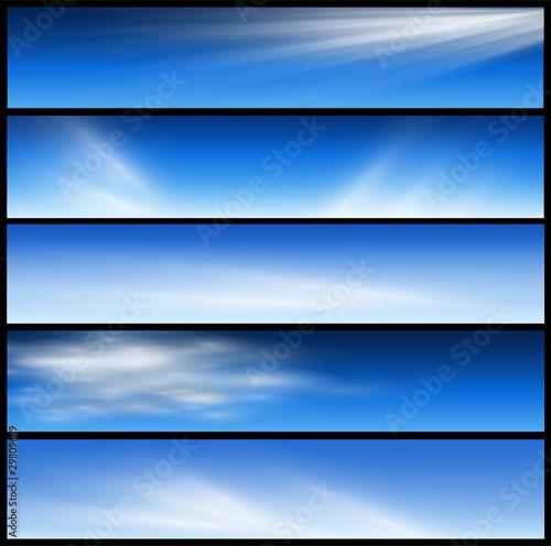 Fototapeta Banners, headers blue set. obraz