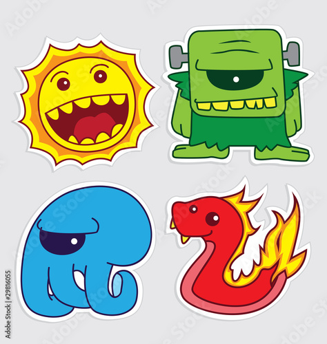 Poster de jardin Creatures cute little monsters sticker v5