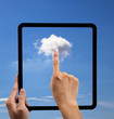 Leinwandbild Motiv cloud computing and touch pad concept.