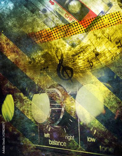 Fotobehang Rijstvelden Grunge musical background