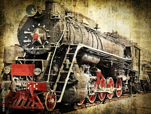 Fotobehang Rood, zwart, wit Grunge steam locomotive