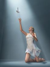 Woman Send White Dove