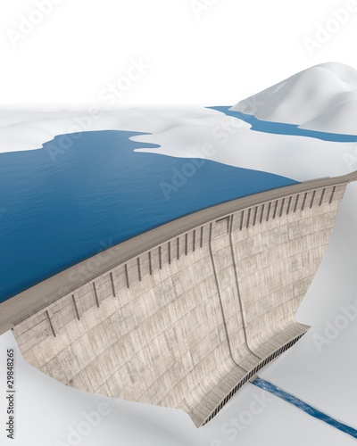Photo sur Aluminium Barrage Staudamm in abstrakter, stilisierter Landschaft