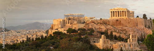 In de dag Athene acropolis panoramic view