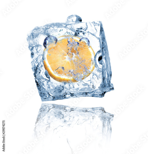 Poster Dans la glace Ice cube with orange isolated on white