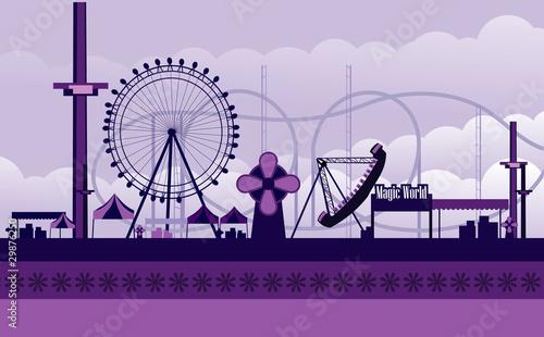 Canvas Print vector amusement park