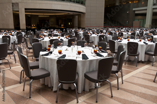Photo Large Room Set Up for a Banquet, Round Tables