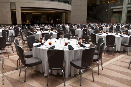 Fotografie, Obraz Large Room Set Up for a Banquet, Round Tables