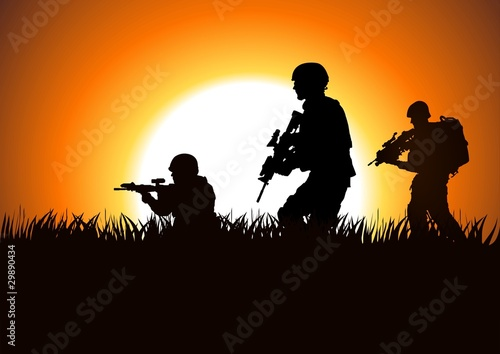 Fotobehang Militair Silhouette illustration of soldiers on the field