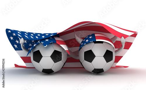 Two soccer balls hold flag