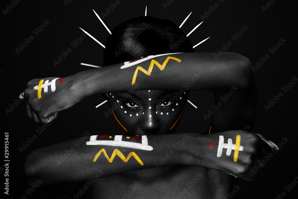 Fototapeta Tribal face and arms hands