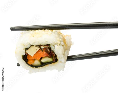 Deurstickers Sushi bar Sushi with chopsticks isolated over white background