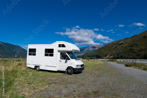 Photo  Campervan on a rest area