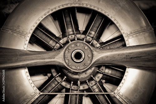 Garden Poster Retro vintage propeller aircraft engine closeup