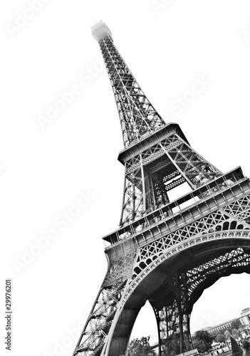 Foto op Aluminium Eiffeltoren Famous Eiffel Tower of Paris isolated on white