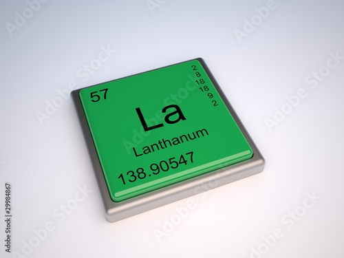 Photo  Lanthanum chemical element of the periodic table with symbol La