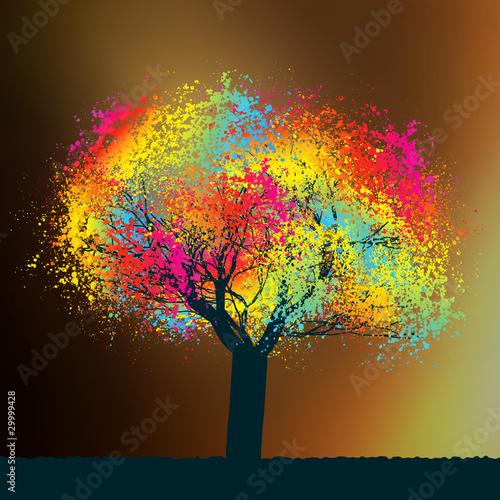 Obraz Kolorowe drzewo abstrakcyjne - fototapety do salonu