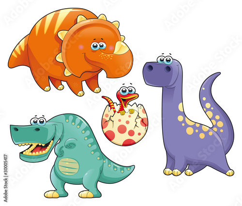 Acrylic Prints Dinosaurs Group of funny dinosaurs. Vector isolated characters.