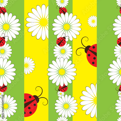Poster Coccinelles Striped seamless pattern with ladybirds