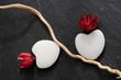 Galets coeurs - Composition florale