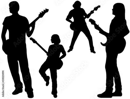Poster Militaire singing band silhouette isolated on white