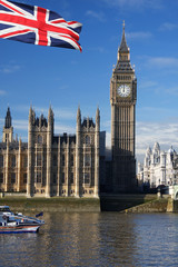 Fototapeta Londyn Big Ben with flag of England, London, UK
