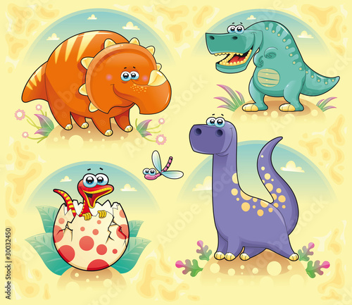 Spoed Foto op Canvas Dinosaurs Group of funny dinosaurs. Vector isolated characters