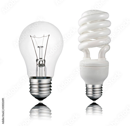 Fotografie, Obraz  Normal and Saver Lightbulb with Reflection Isolated on White