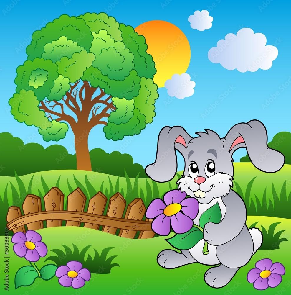 Foto-Lamellen (Lamellen ohne Schiene) - Meadow with bunny holding flower