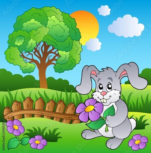 Foto-Lamellen (Lamellen ohne Schiene) - Meadow with bunny holding flower (von Klara Viskova)